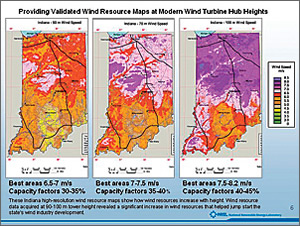 These maps show how wind resources in Indiana increase with height.