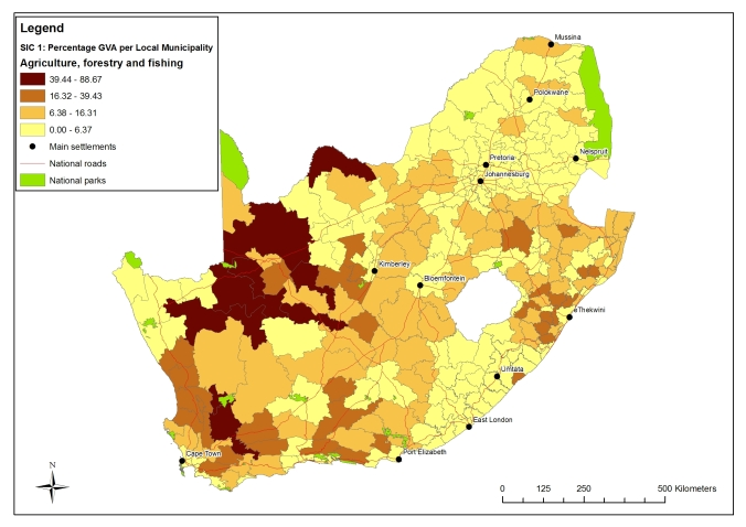 Contribution of key economic sectors as percentages to total Gross Value Add (GVA): Agriculture and Forestry (SIC1) – percentage GVA