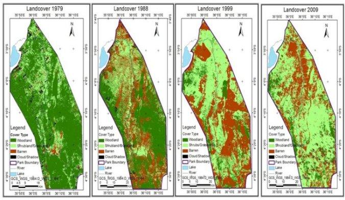 Tarangire National Park land cover maps 1979–2009