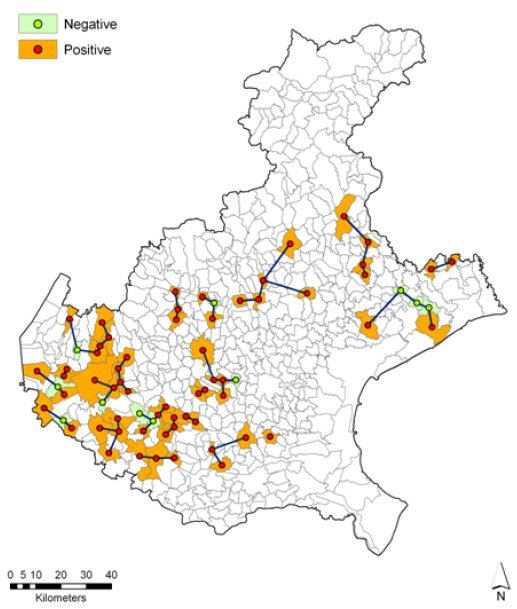 Campylobacter broiler holding infection status, by municipality, Veneto region, Italy, 2008. Joins between centroids of nearest neighbour municipalities are represented by lines.