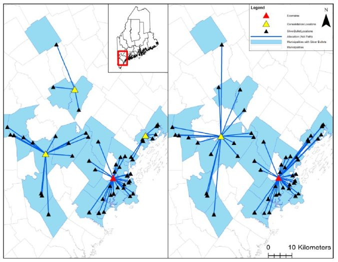 Left, Scenario 1, five facilities serve all silver bullets in fewer than 32 km; right, Scenario 2, three facilities serve all silver bullets in fewer than 48 km. One consolidation location is not shown in either Scenario because it is an outlier.