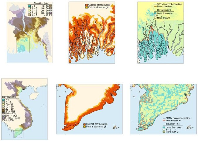 Impact zones for 1 meter sea level rise and intensification of storm surges, and likely changes in unprotected shorelines – illustrative cases: Bangladesh and Vietnam.