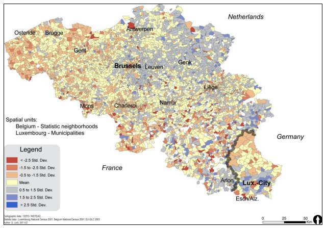 Territorial inequalities in housing for Luxembourg and Belgium in 2001