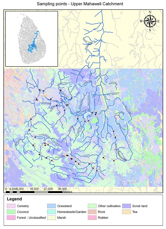 Upper River Mahaweli catchment and the tributaries of the river, depicting the sampling points