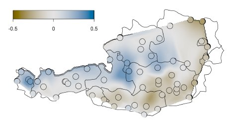 Spatial eect ^ fkr(longi; lati). The range of the color scale is 1.0 on the scale of the linear predictor.