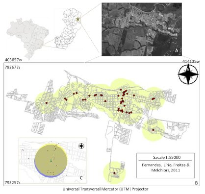 Spatial distribution of community pharmacies. São Mateus-ES (A) zoning area (500m buffer) (B) detail of the intersection between coverage areas of two pharmacies (C).