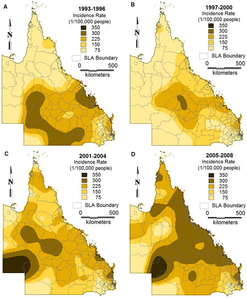 Maps showing the inverse distance weighting interpolated incidence rates of BFV disease by SLA over different periods (A:1993–1996, B:1997–2000, C:2001–2004 and D:2005–2008).