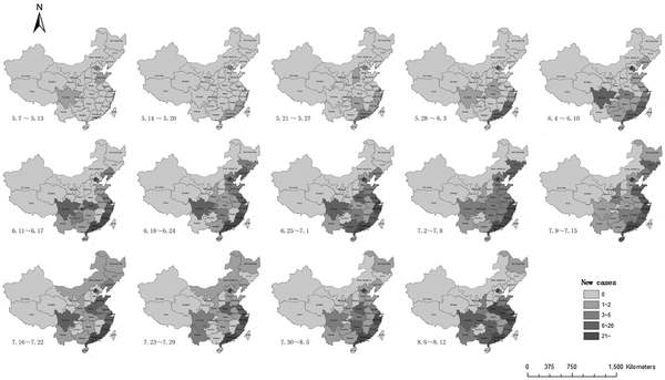 Weekly changes in the geographic distribution of reported H1N1 infection in mainland China between May 7, 2009 and August 12, 2009.