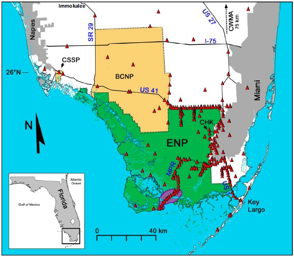 Map of South Florida illustrating sampling locations in relation to python distribution.