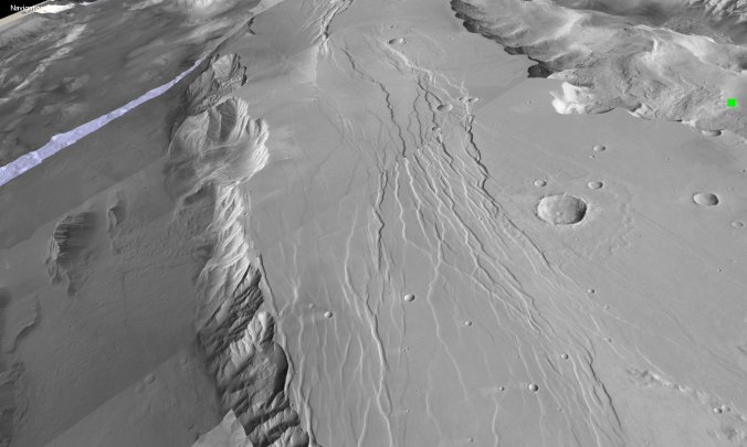 Fault network on Mars next to Valles Marineris