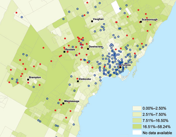 Percentage of residents in a neighborhood reporting immigration from malaria-endemic areas, greater Toronto area, Ontario, Canada, 2008–2009.