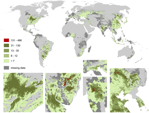 Global map of pollination benefits for soybeans