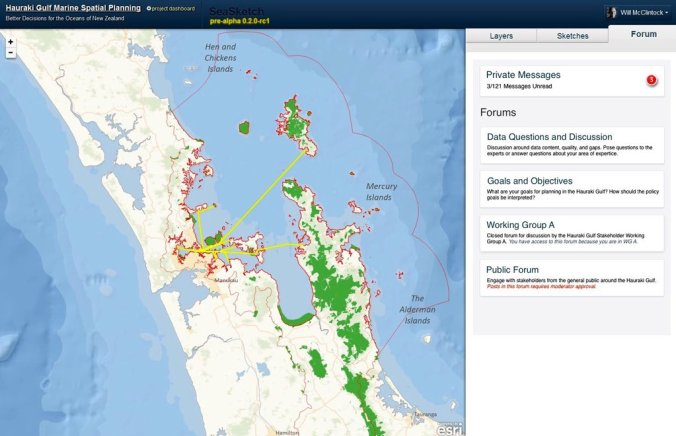 Map-based discussion forums in SeaSketch facilitate collaborative decisions.