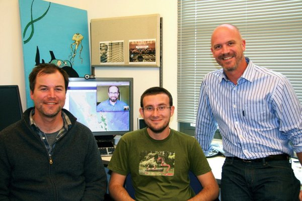 From left, SeaSketch team members Todd Bryan, Evan Paul (on Skype), Chad Burt, and Will McClintock. Photo by Sonia Fernandez