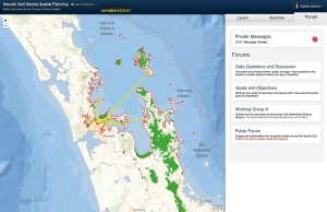 SeaSketch map interface with forum categories.