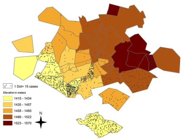 Distribution of cholera cases and average elevation by suburb in Harare, 2008-2009