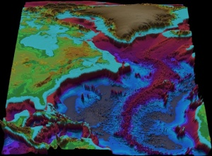 Fledermaus 3D visualization of the northeast Atlantic Ocean.