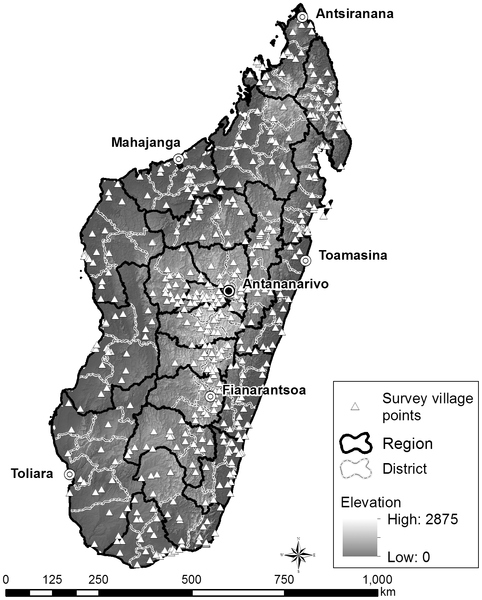 A map of Madagascar indicating the survey points for the 2008–2009 Demographic and Health Survey (EDSMD-IV).