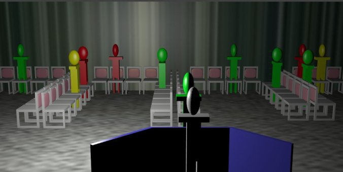 Render of simulated, non-partitioned waiting room. 3D model generated via Blender (blender.org).