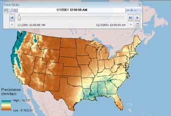 A GIS user quickly accesses historical precipitation data in netCDF format to create a weather map and uses the Time Slider tool to see changes in weather patterns over time.