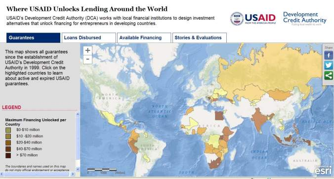USAID's Development Credit Authority created this story map to show how they are working with local financial institutions to design investment alternatives that unlock financing for entrepreneurs in developing countries.
