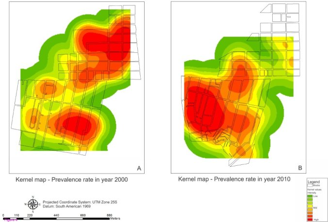 Kernel maps show that the risk of disease occurrence and transmission were concentrated in the locality of Salinas in 2010.