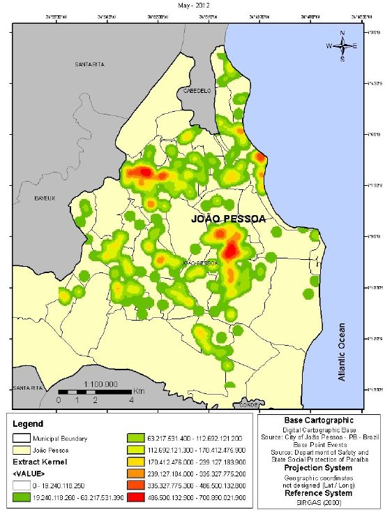 Map Kernel: Violent Crime sheets in the city of João Pessoa.