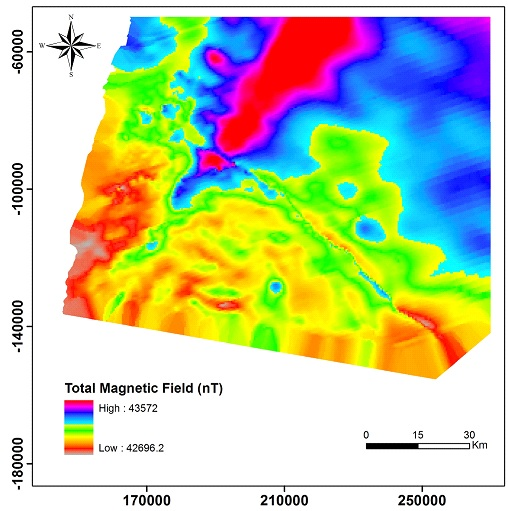 Total magnetic field map