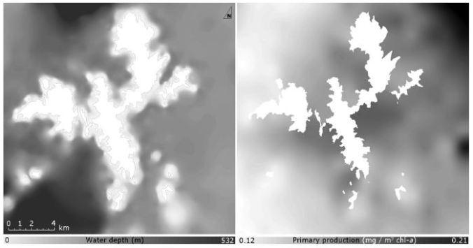 Example datasetsfortheAegeancase,waterdepth(m)andprimaryproduction(mg/m3 chl-a, basedonMERISdata©ESA2012).