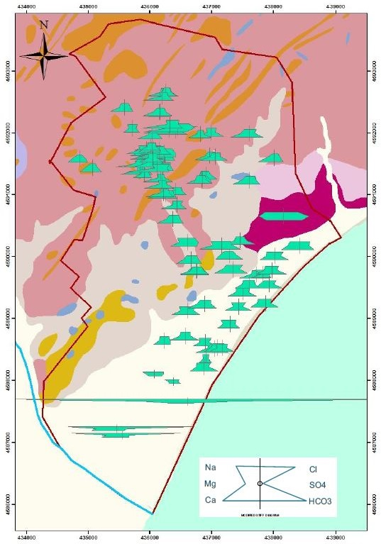 Map representing theStiff diagrams of the Badalonashallow aquifer for theperiod 1996-2001. This map waselaborated with thecommand Hydrochemical diagramtools.