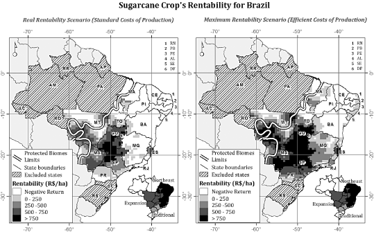 Sugarcane crops estimated rentability for the harvest year 2005–2006 according to real (S1) and maximum (S2) rentability scenarios.