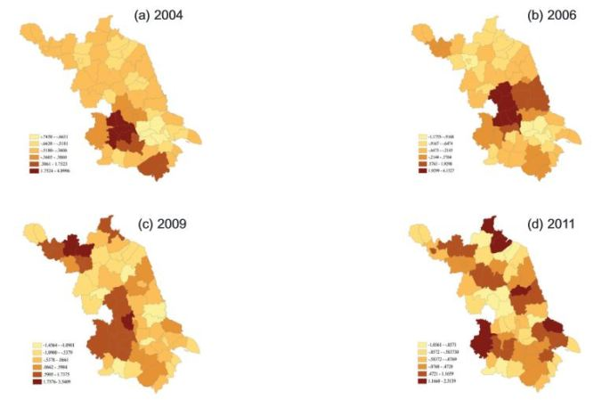 Spatial clusters of annual incidence of influenza (hotspots) in Jiangsu province, P.R. China, for the years 2004 (a), 2 006 (b), 2009 (c) and 2011 (d).