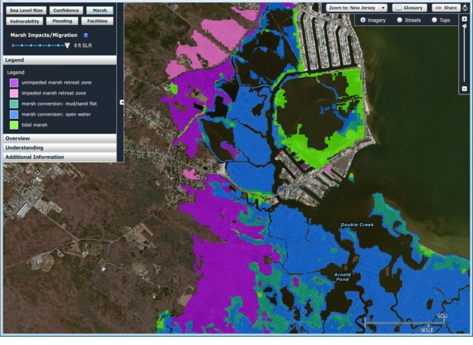 Example of unimpeded vs. impeded horizontal tidal marsh retreat zones in the NJFloodMapper viewer under six feet of projected sea level rise.