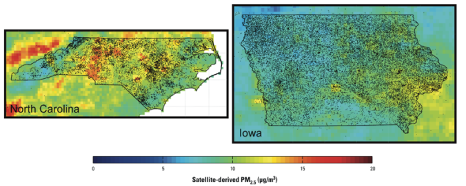 Spatial distribution of participants and estimated PM2.5 concentrations (μg/m3) in North Carolina (left) and Iowa (right). Dots outside state lines reflect the small number of participants who were enrolled in the study but lived outside North Carolina or Iowa.