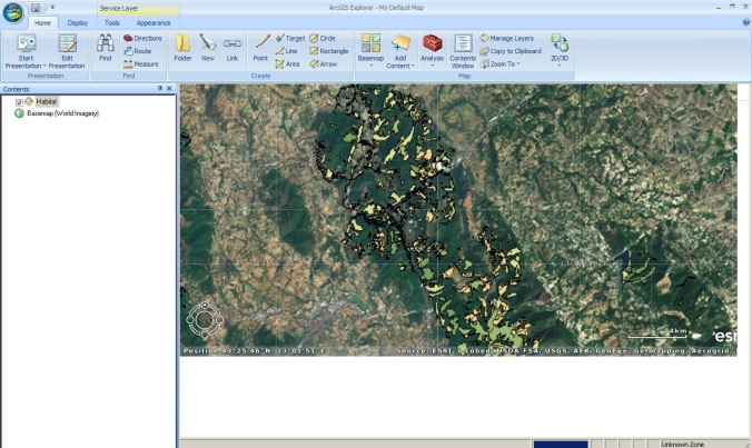 Example of ArcGIS Explorer interface reading WMS from SIT REM.