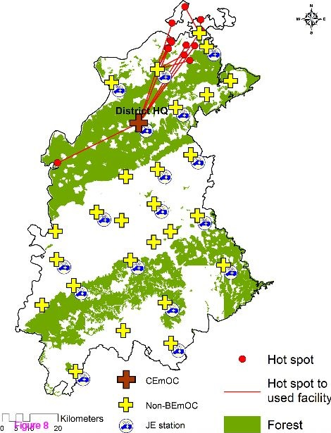 In district 2, forests covered 52.4% of the total district area (Figure 8). Most of the hot spot mothers in dis trict 2 acted differently in that they travelled longer distances through the forest areas to ac cess the CEmOC located in the district head quarter. The majority of women will not require to de liver in a Comprehensive EmOC facility, but the alternative to not delivering in a CEmO C facility in this setting is nearly equivalent to delivering in a dysfunctional facility, as none of the other facilities provide complete Basic EmOC which is life saving.
