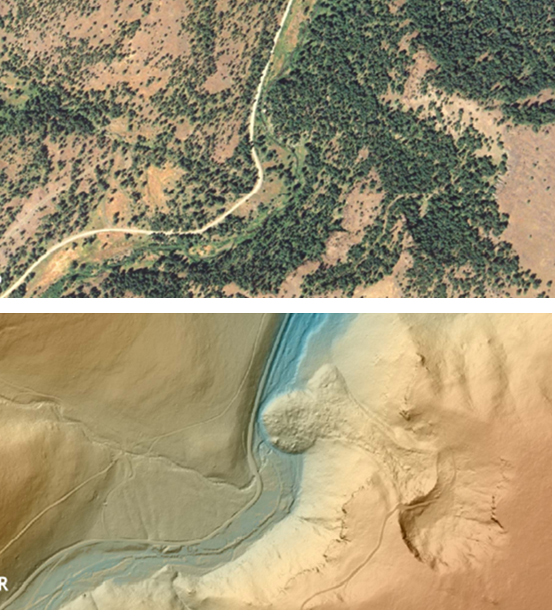A comparison of an air photo and a lidar image of an area along Secondary Road and Camp Creek, 12 miles north of John Day, OR. The lidar image allows identification of landslide activity that is otherwise masked by trees. (Photo courtesy of the Oregon Department of Geology and Mineral Industries).