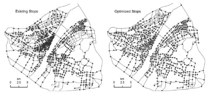 Distribution of existing and optimized bus stops.