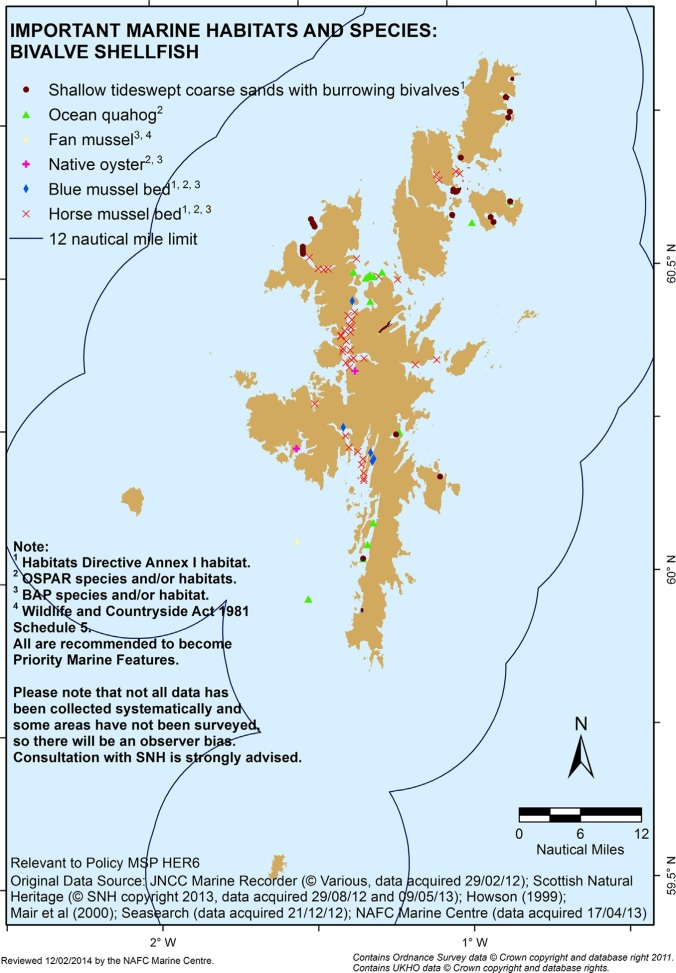 Example of mapped environmental feature within the Shetland Islands' Marine Spatial Plan (NAFC Marine Centre,2013).
