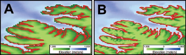 Example of topographic creep introduced by gridding interpolation. (A) Color image of the GEBCO 1-minute global relief model along the northwest coast of Iceland. Note how the data-poor fjords have positive elevation values in the model due to the predominance of surrounding positive topography. (B) Color image of the same area in the ETOPO1 1-minute global relief model. Bathymetric data, in the presence of a coastline (red), were gridded first in order to interpolate negative elevation values into the fjords.