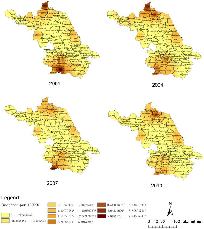 Interpolated maps of HFRS by IDW in Jiangsu in 2001, 2004, 2007 and 2010. The incidence of HFRS per 100,000 residents is shown in the map. The incidence of HFRS has a positive relationship with color depth.