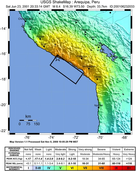 ShakeMap image of the 2001 southern Peru earthquake.