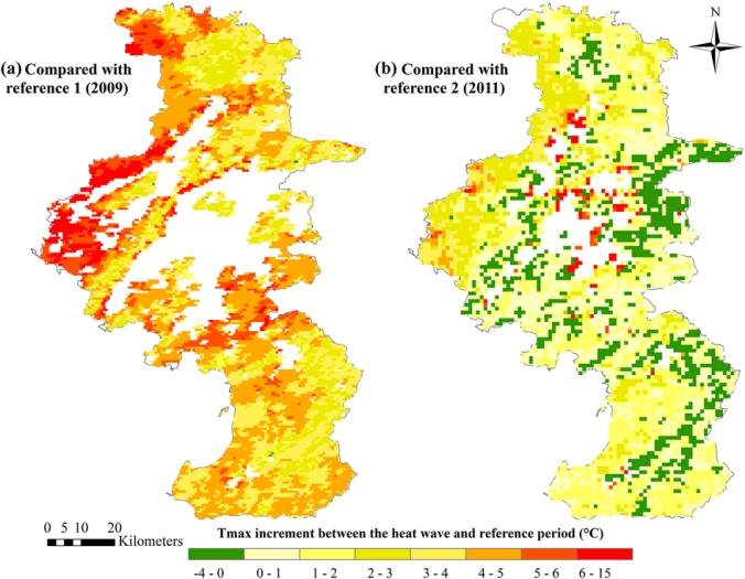 (1) Using reference period 1 (A2); (2) Using reference period 2 (A3). Maximum of daytime land surface temperatures (Terra/MODIS, 1 km resolution) in each period (19 days) was used as the temperature exposure indicator. White areas indicate that land surface temperatures were not available due to cloud cover. Maps were generated using ArcGIS (version 10.0; ESRI, Redlands, CA).