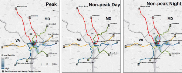 Robbery density at peak, non-peak day, and non-peak night hours