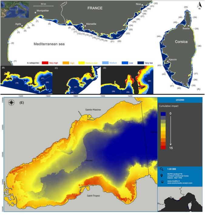 Spatial distribution of cumulative impact scores. (A) Spatial distribution of cumulative impact scores (IC) and localization of coastal water bodies. (B, C, D) Zooms showing how water bodies are more or less impacted (IC categories). (E) Detailed map of the Golfe of St Tropez showing how the golfe is impacted (quantitative IC scores) Several cities are indicated by small squares.