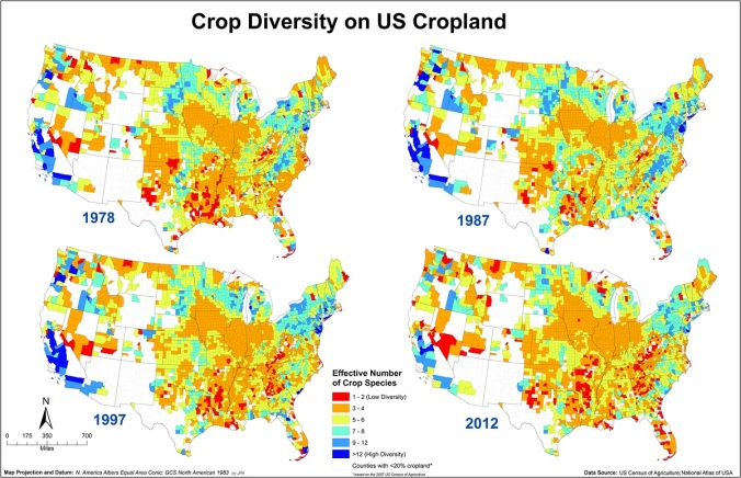 Crop species diversity as effective number of species in 1978, 1987, 1997 and 2012 on a county level basis for the contiguous US. The hotter colors (red hues) indicate lower ENCS values (low crop diversity) while colder colors (blue hues) indicate higher ENCS values (high crop diversity).