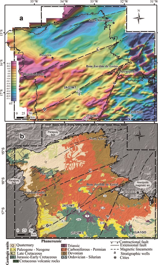 Fig. 8. (a) Reduced-to-pole magnetic anomaly field of the study area. (b) Main geological features  of the northwest Paraná Basin. The Arenópolis magmatic arc and the Paraguay Belt represent the  Neoproterozoic basement of the basin. Dashed black lines are magnetic lineaments (Curto et al.,  2014): (A) Serra Negra, (B) Baliza, (C) General Carneiro.