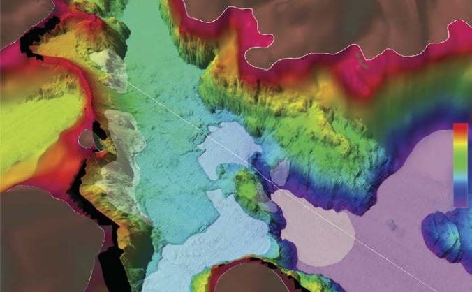 7.3-D perspective view of shaded relief bathymetry offshore Chenega village.