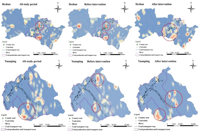 Cluster areas of Neural Tube Defects in Heshun County and Yuanping County.