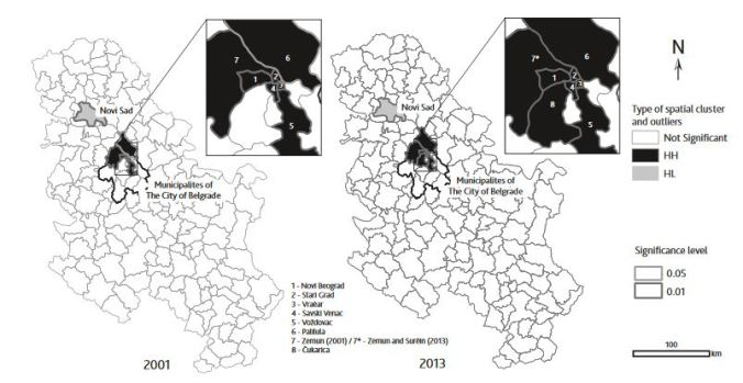 Spatial autocorrelation analysis of tourist arrivals  using municipal data: A Serbian example